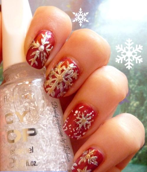 Mẫu móng nail đẹp hình bông tuyết