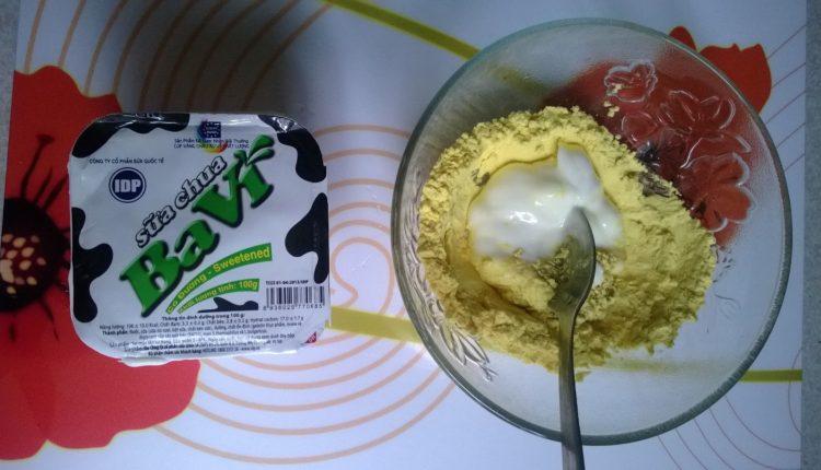 tinh bột nghệ, mật ong, sữa chua