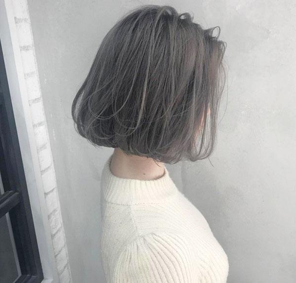Tóc bob màu xám khói