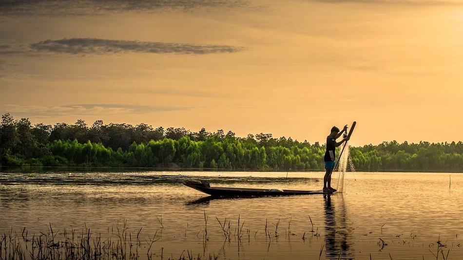 Một người đang đứng trên thuyền và thả lưới