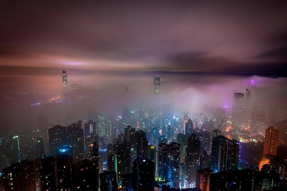 Ảnh chụp thành phố trong màn sương