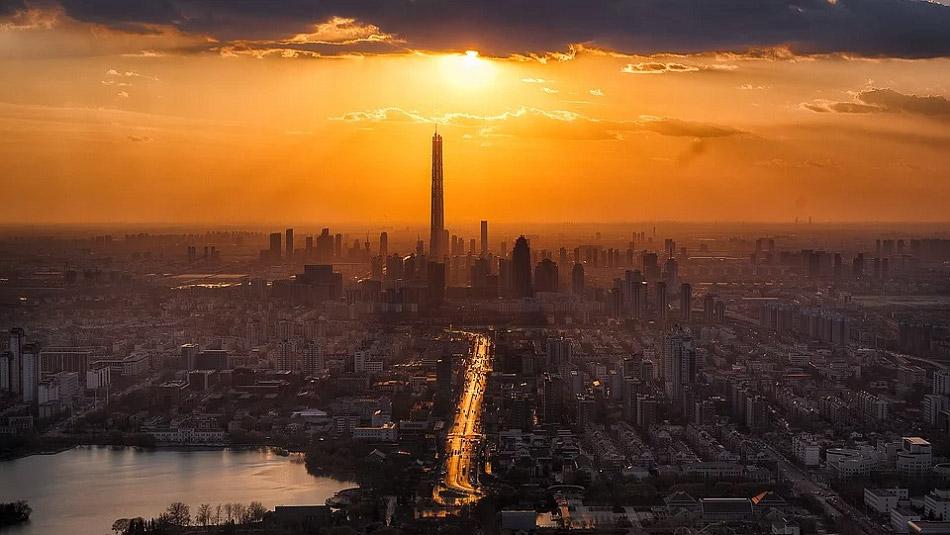 Ảnh chụp thành phố Thiên Tân nhìn từ trên cao trong một buổi hoàng hôn