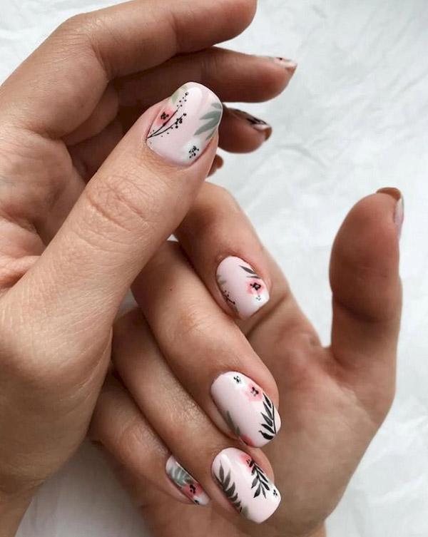 Mẫu nail đẹp cây lá