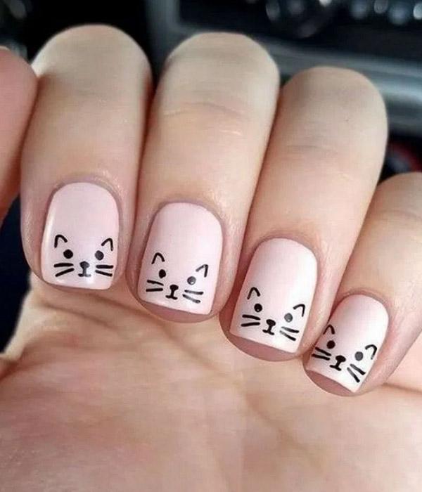 Mẫu nail vẽ hình mèo đơn giản