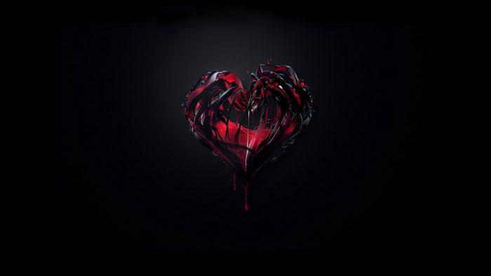 Quả tim đỏ trên nền đen