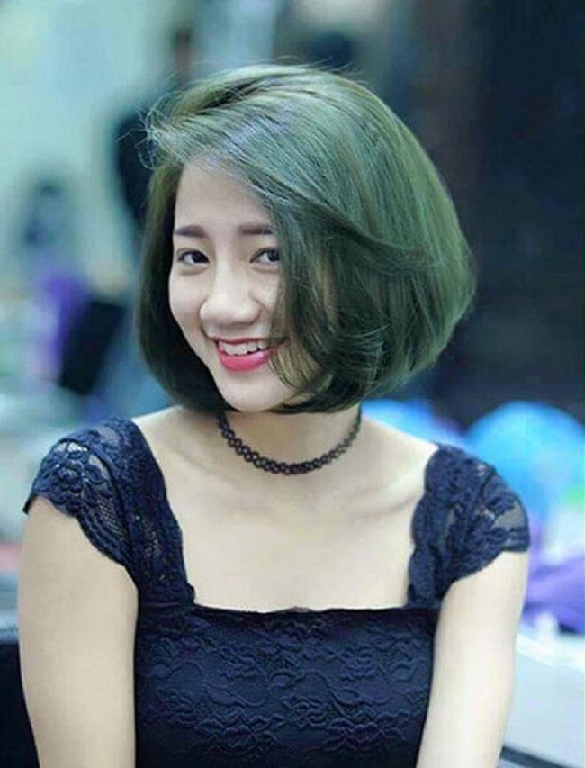 Tóc bob nhuộm xanh rêu đẹp